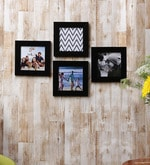 Wall Collage Black Fibre Wood Photo Frame- Set Of 4