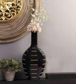 Black Wood and Fibre Vase