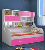 Arthur Expandable Bed with Storage in Pink & White  Colour