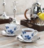 Arttdinox Blueberry Ceramic 130 ML Large Cup and Saucer Set