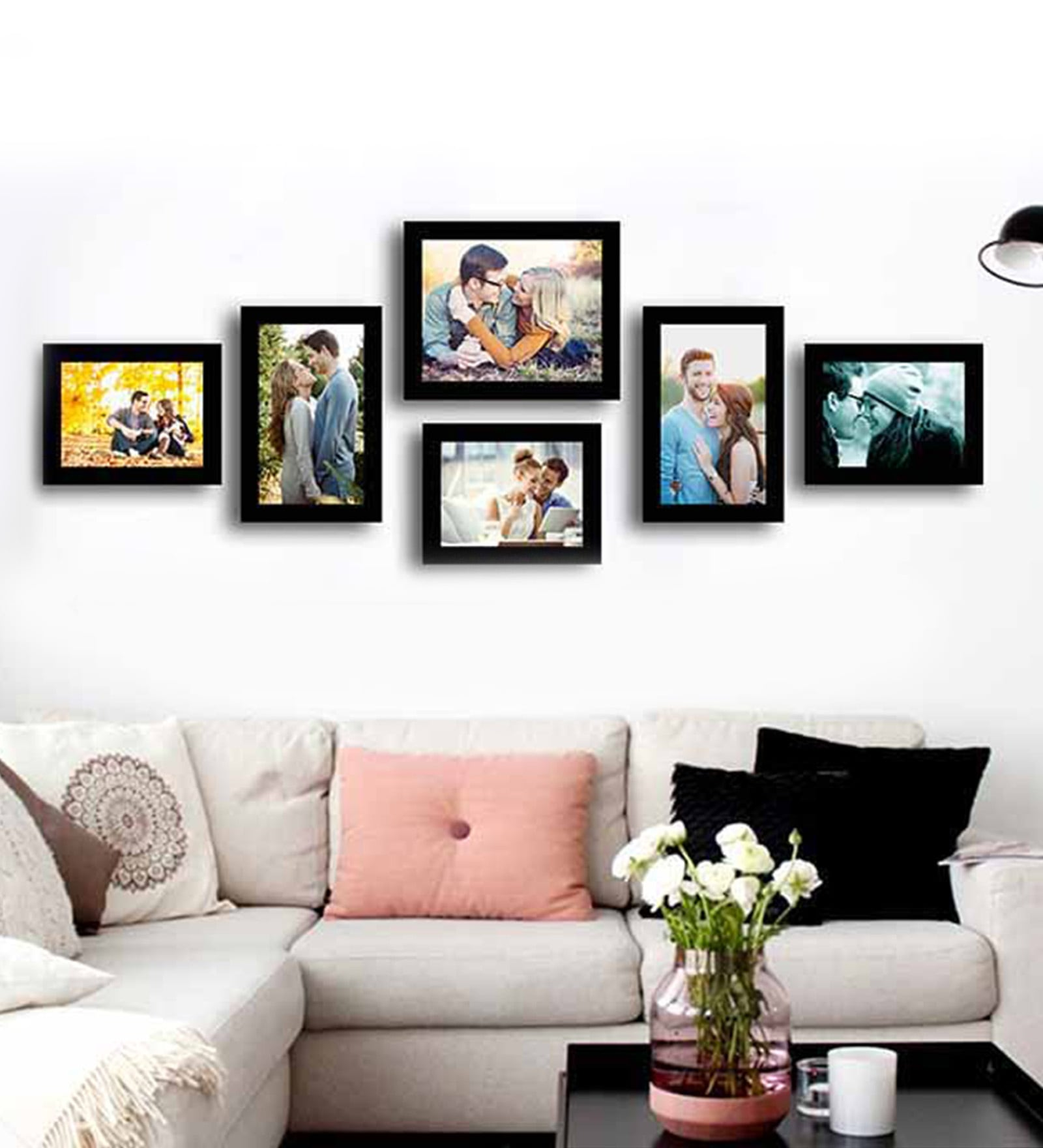 Black Fibre Wood Simple Straight Individual Wall Photo Frame - Set of 6 by Art Street