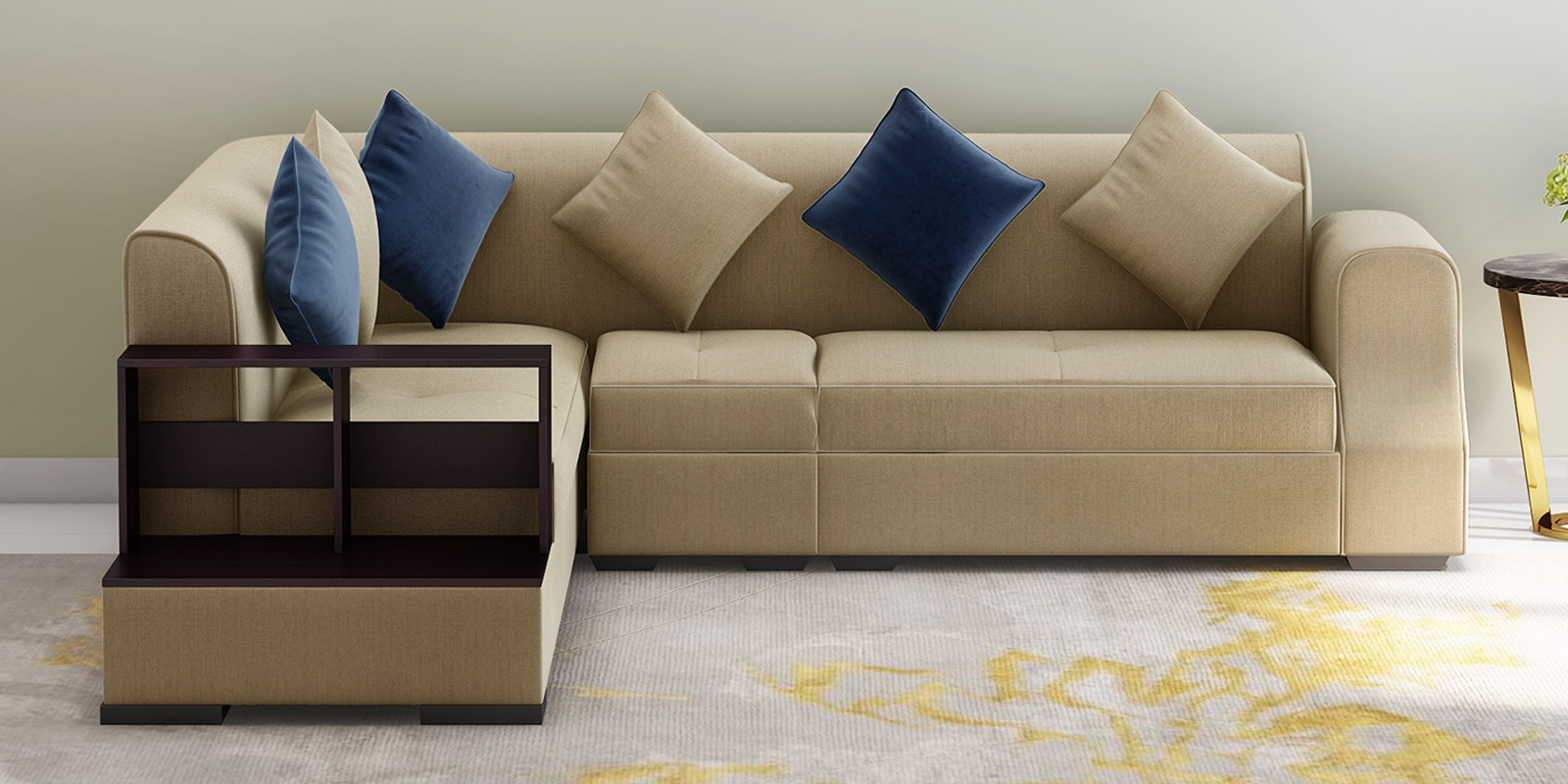Arlo RHS sectional Sofa with Pouffe in Beige Colour By Muebles Casa