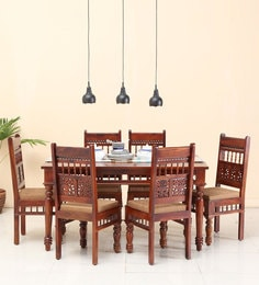 Aramika Six Seater Dining Set In Honey Oak Finish