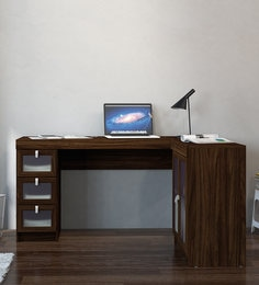 Arisa Study Table With Drawers U0026 Cabinet In Walnut Brown Finish
