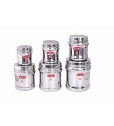 Aristo Stainless Steel Round 250 Ml, 350 Ml, 500 Ml, 750 Ml, 1100 Ml, 1500 Ml Container - Set Of 6