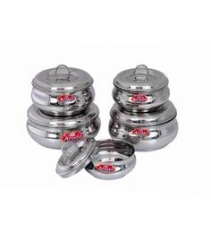Aristo Stainless Steel Round 250 Ml, 375 Ml, 625 Ml, 750 Ml, 1000 Ml Container - Set Of 5