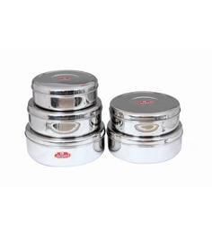 Aristo Stainless Steel Round 2800 Ml, 3300 Ml, 4000 Ml, 4800 Ml, 5700 Ml Container - Set Of 5