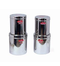 Aristo Stainless Steel Round 3500 Ml, 4250 Ml,5300 Ml, 6400 Ml Container - Set Of 4 - 1603510