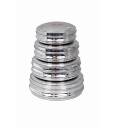 Aristo Stainless Steel Round 500 Ml, 1000 Ml, 1300 Ml, 2000 Ml Container - Set Of 4