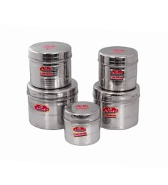 Aristo Stainless Steel Round 500 Ml, 700 Ml, 950 Ml, 1150 Ml, 1750 Ml Container - Set Of 5