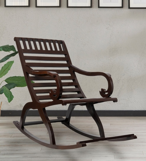 Buy Arabia Teakwood Rocking Chair In Brown Finish By