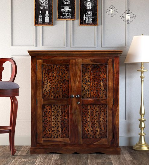Buy Aramika Solid Wood Bar Cabinet In Provincial Teak Finish By