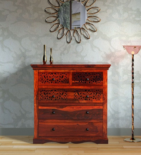 competitive price 6398f 70ce5 Aramika Solid Wood Chest of Drawers in Honey Oak Finish by Mudramark