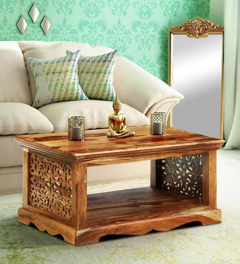 Aramika Solid Wood Coffee Table In Rustic Teak Finish By Mudramark