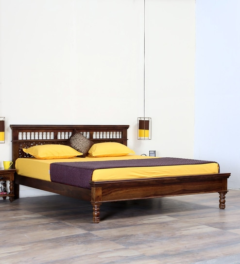 Buy Aramika Solid Wood King Size Bed In Provincial Teak Finish By