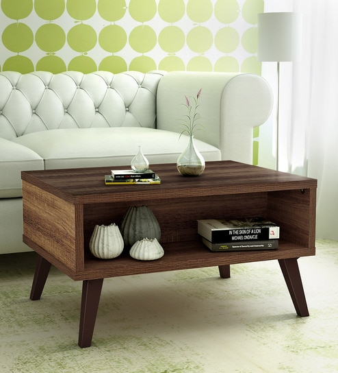 Arata Coffee Table with Storage slot in Oak Finish by Mintwud