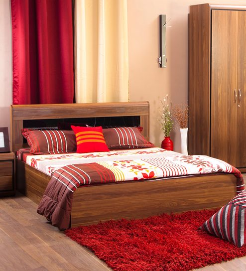 b8c9d866f4fb Archer Queen Size Bed with Box Storage in American Walnut Finish by Hometown