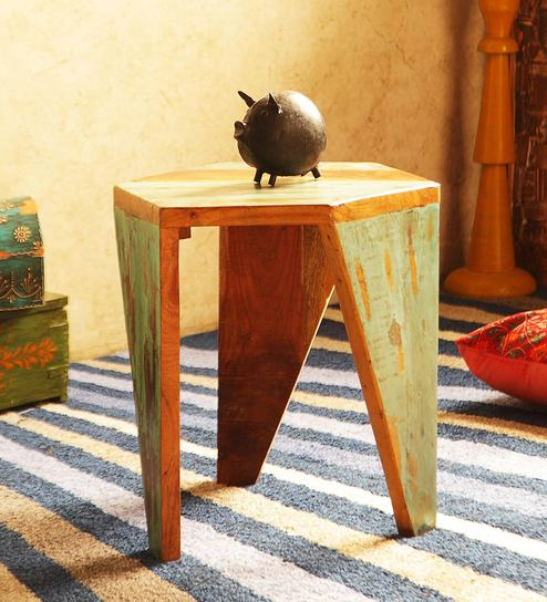 Beau Arika Solid Wood End Table In Distress Finish By Bohemiana