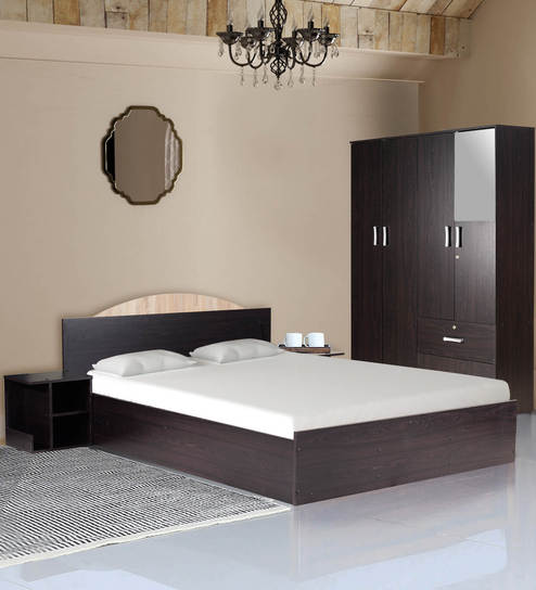 Arisa Bedroom Set (King Bed with Storage, 4 Door Wardrobe & Two Bedside  Tables) in Wenge Finish by Mintwud
