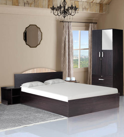 Arisa Bedroom Set Queen Bed With Storage 2 Door Wardrobe Two Bedside Table