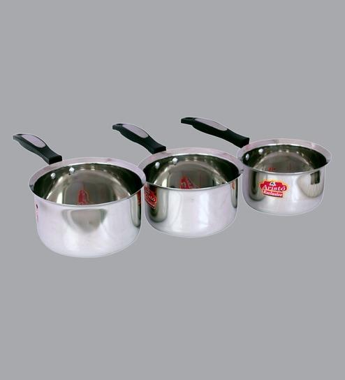 Aristo Flat Bottom Stainless Steel Sauce Pans Set Of 3 1000 To 1600 Ml