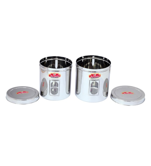 Aristo Stainless Steel & Plastic Transparent Containers - Set Of 2