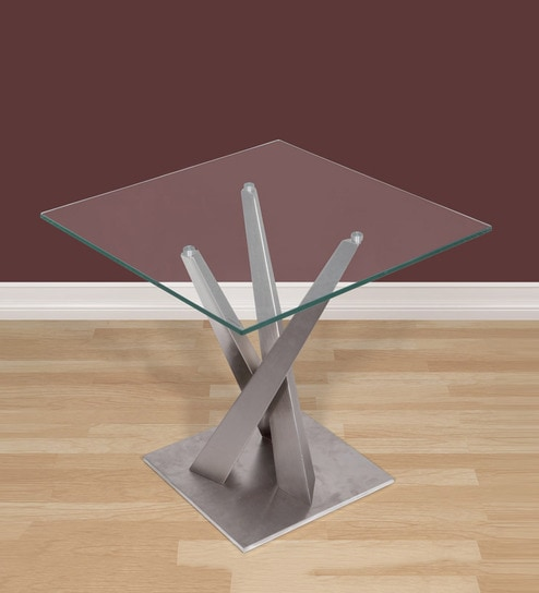 Aron Metallic End Table With Square Glass Top By Evok