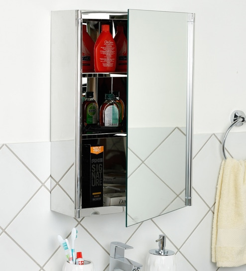 best website 56bff e5f2e Stainless Steel Silver 4 Compartment Bathroom Cabinet (L: 14, W: 5, H: 20  Inches) by Arrow