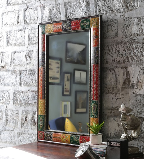 Multicolour Mdf Painted Mirror With Frame By Art Creation