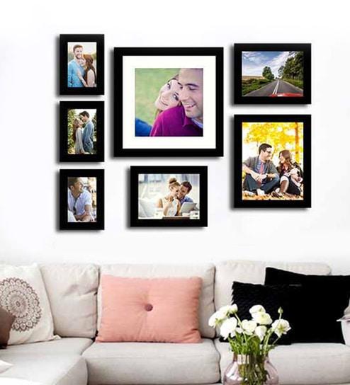 Buy Black Fibre Wood Cultured Individual Wall Photo Frame - Set of 7 ...