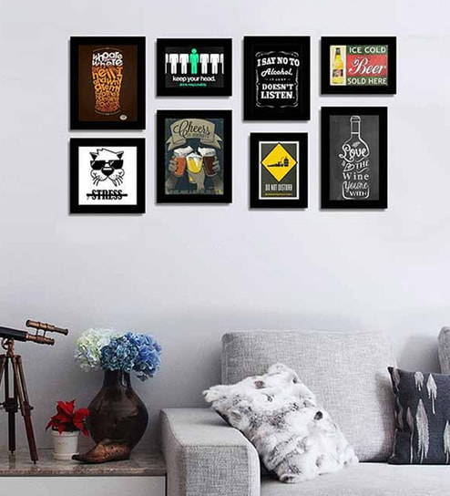 Wall Picture Frame Set buy black fibre wood quirky quote frames bar theme wall quotes