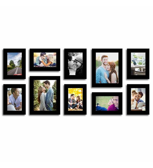 Buy Black Fibre Wood Stature Individual Wall Photo Frame Set Of 10