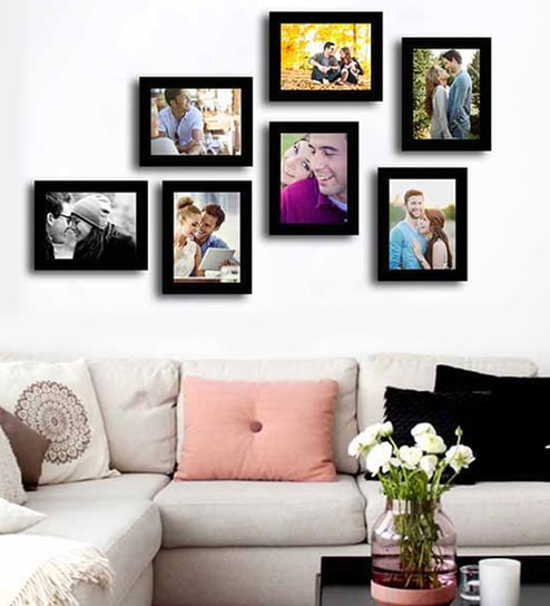 Buy Black Synthetic Wood Wall Photo Frame Set Of 7 By Art Street