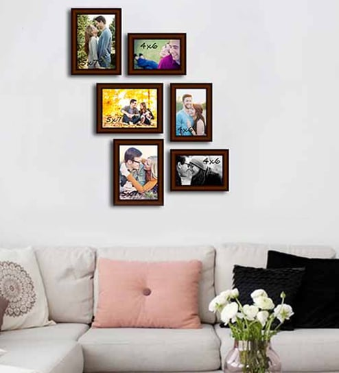 art street brown fibre wood decorous individual wall photo frame set of 6