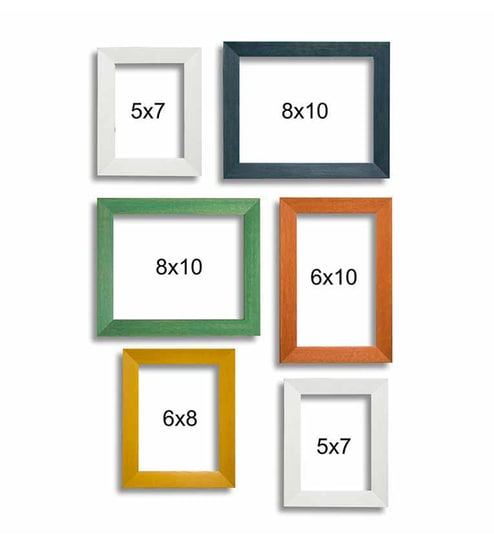 Buy Multi Color Synthetic Wood Wall Photo Frame Set Of 6 By Art