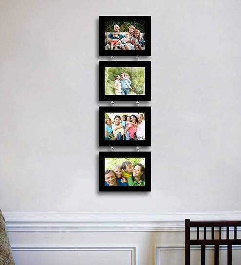 Buy Black Synthetic Wood Wall Photo Frame Set Of 4 By Art Street