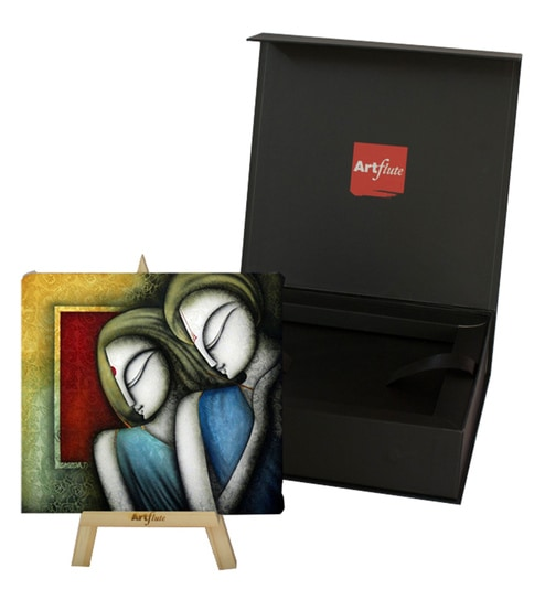 Cotton Canvas 7 X 1 X 7 Inch Divine Love Story Framed Digital Art Print With Wooden Easel By Artflute
