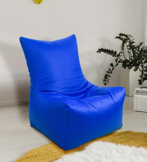 Incredible Artificial Leather Xxxl Blue Bean Bag Chair Cover By Madaar Homez Ibusinesslaw Wood Chair Design Ideas Ibusinesslaworg