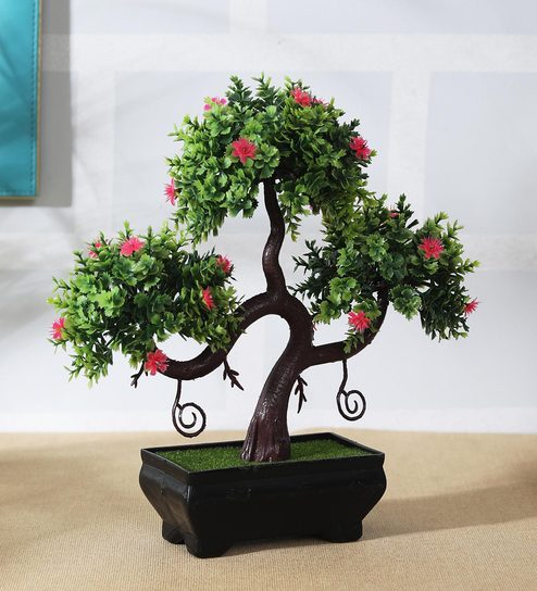 Green Artificial Plant Bonsai Tree with Round Leaves & Pink Flowers with  Pot by Foliyaj