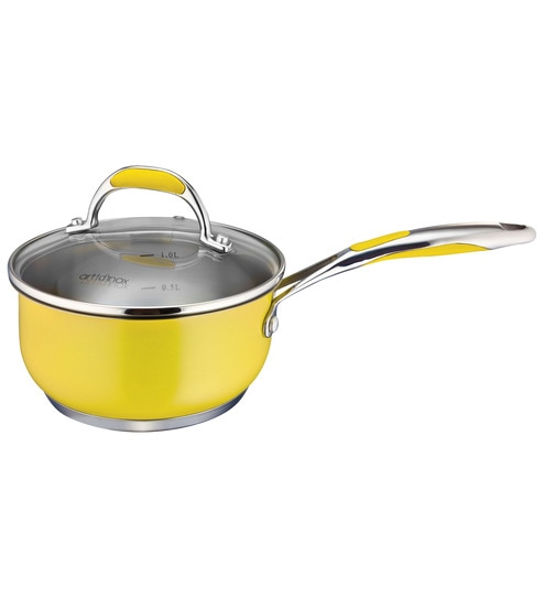 Yellow Stainless Steel 1 L Non Stick Sauce Pan With Gl Lid By Arttdinox