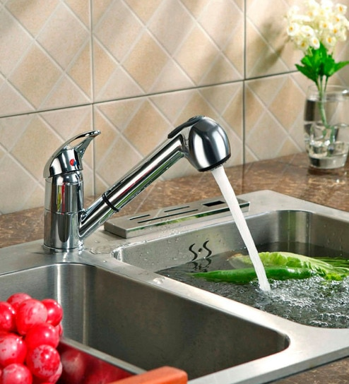Buy Artz Silver Brass Stainless Steel Pull Out Kitchen Faucet