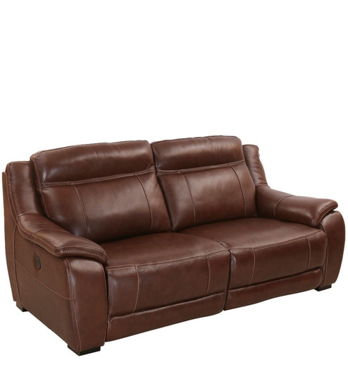 Aruba Two Seater Electric Recliner Sofa In Auburn Colour By Home