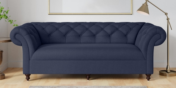 Sensational Areia 3 Seater Sofa In Navy Blue Colour By Amberville Machost Co Dining Chair Design Ideas Machostcouk
