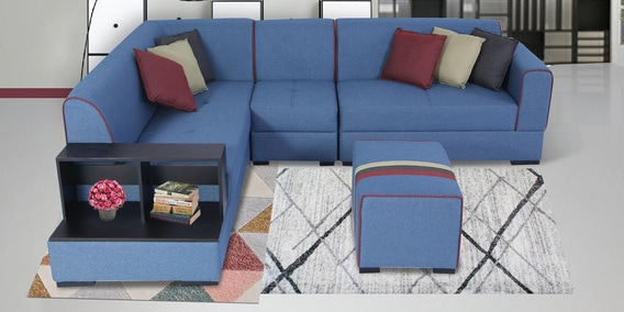 Fabulous Arlo Rhs Sectional Sofa In Blue Colour With Ottoman Side Table By Muebles Casa Short Links Chair Design For Home Short Linksinfo