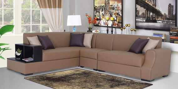 Buy Arlo Rhs Sectional Sofa In Tan Brown Leatherette With Side Table By Muebles Casa Online Modern Corner Sofas Sectional Sofas Furniture Pepperfry Product