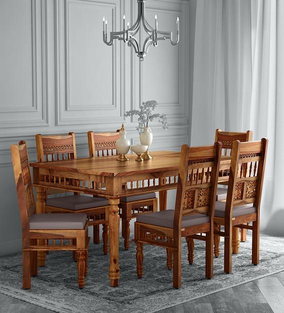 Aramika Solid Wood 6 Seater Dining, Teak Dining Room Hutch