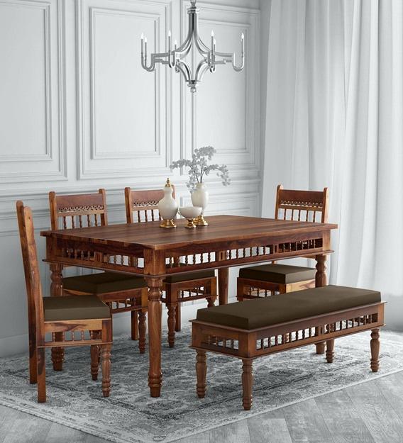 Aramika Solid Wood 6 Seater Dining Set, Teak Dining Room Hutch