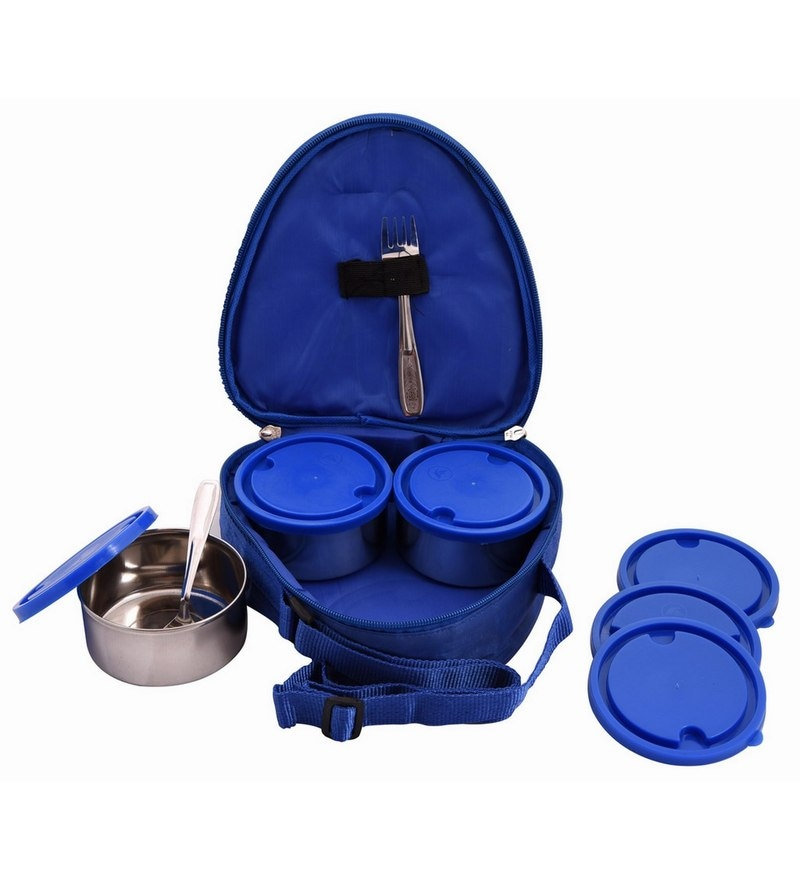 Aristo Silver Stainless Steel Round 250 ml Lunch Box with Blue Insulated bag