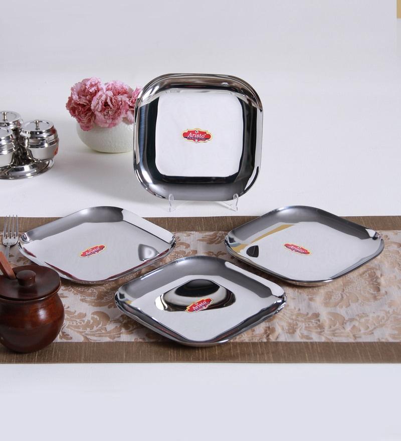 Aristo Square Steel Dinner Plates - Set of 6
