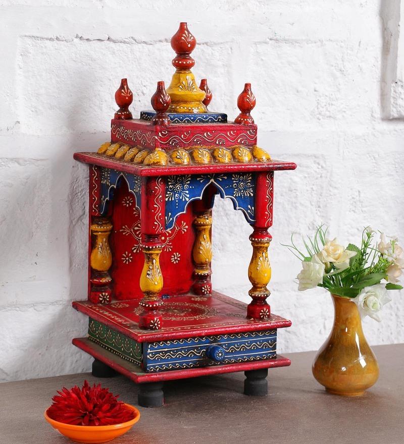 Multicolour Solid Wood Jodhpuri Hand painted Temple by Art of Jodhpur